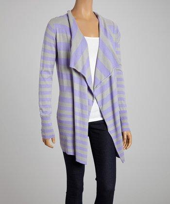 Lilac & Silver Stripe Open Cardigan