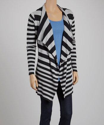 Black & Silver Stripe Open Cardigan