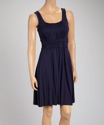 French Navy Weave Sleeveless Dress