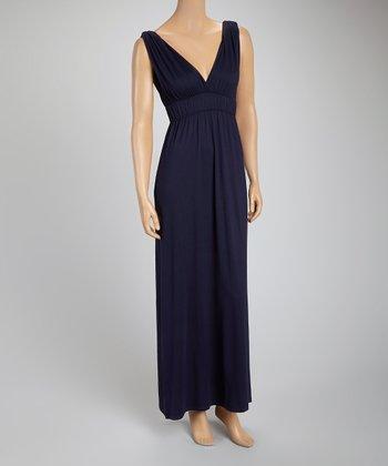 French Navy Empire-Waist Maxi Dress