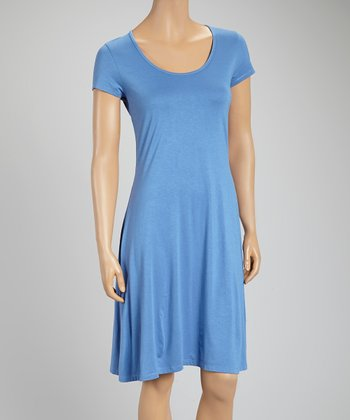 Light Blue Scoop Neck Shift Dress