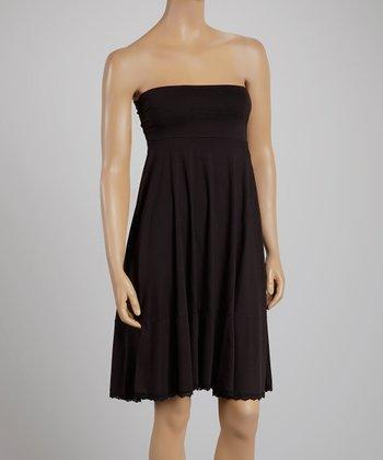 Black Lace-Trim Convertible Midi Skirt