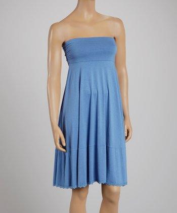 Light Blue Lace-Trim Convertible Midi Skirt