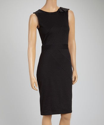 Black Cap-Sleeve Shift Dress