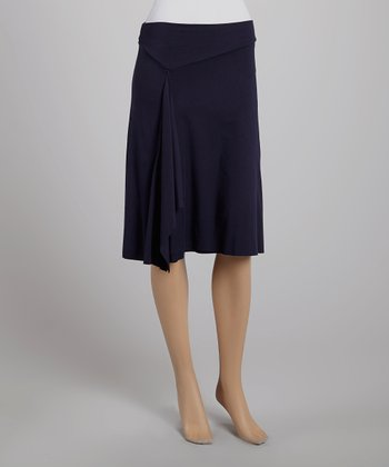 French Navy Double-Layer Drape Skirt