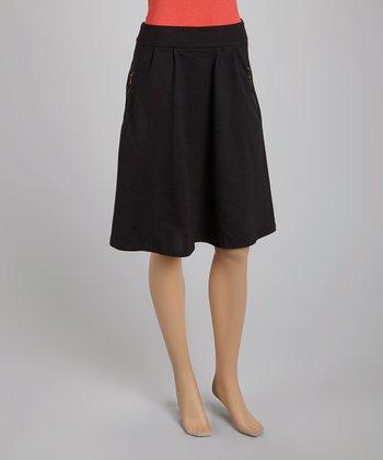 Black Zipper Pleated Skirt