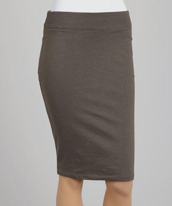 Slate Gray Zipper Pencil Skirt