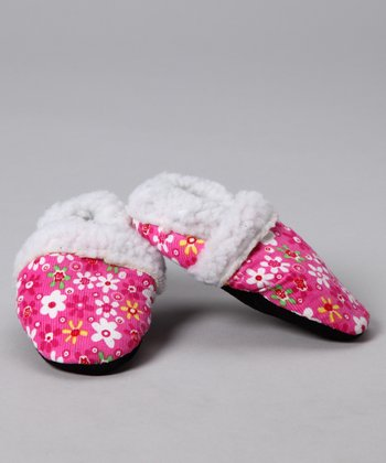 Pink Flower Faux Fur Corduroy Booties