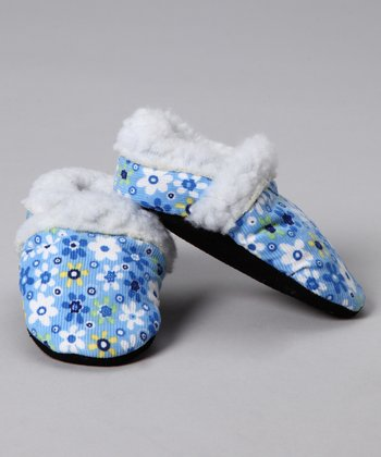 Blue Flower Faux Fur Corduroy Booties