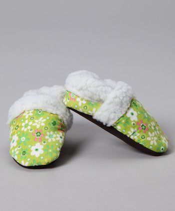 Augusta Baby Green Flower Faux Fur Corduroy Booties