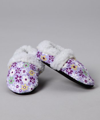 Purple Flower Faux Fur Corduroy Booties