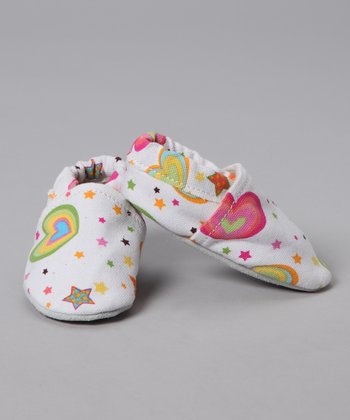 White Rainbow Heart Booties