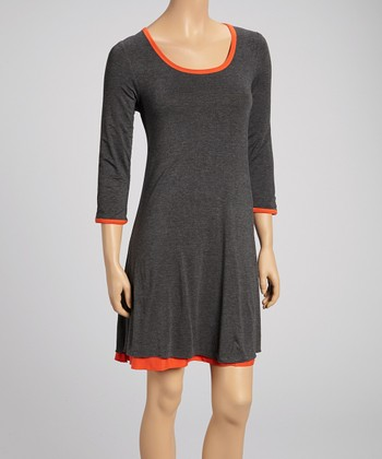 Heather Gray & Orange Three-Quarter Sleeve Reversible Dress