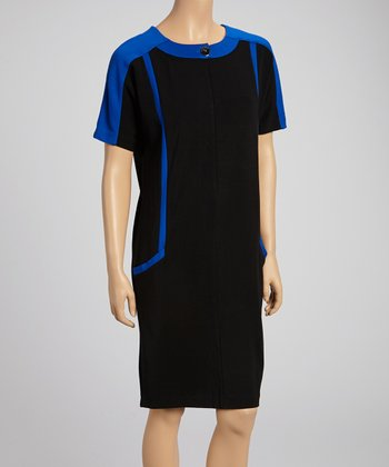 Black & Royal Blue Color Block Dress