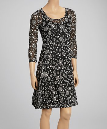 Black & Gray Abstract Dot Flare Dress
