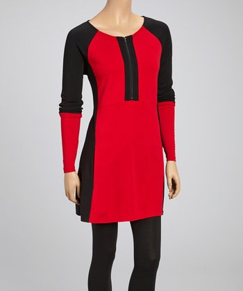 Red & Black Color Block Boat Neck Tunic