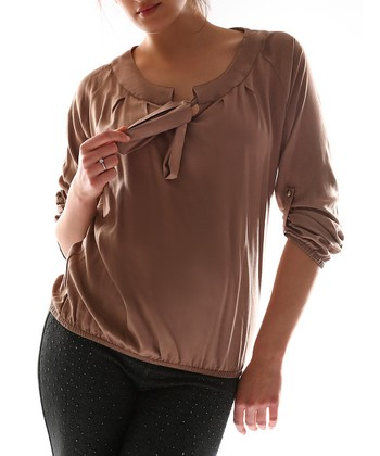 Mink Tie Scoop Neck Top - Plus