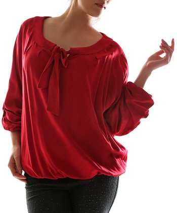 Red Tie Scoop Neck Top - Plus
