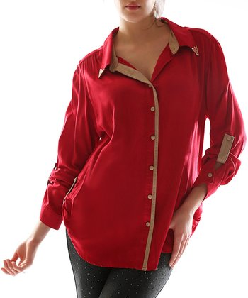 Red Button-Up - Women & Plus