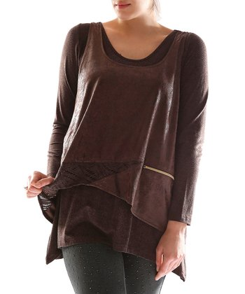 Brown Layered Tunic - Plus