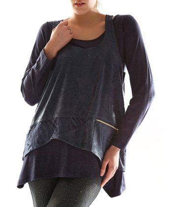 Navy Blue Layered Tunic - Plus