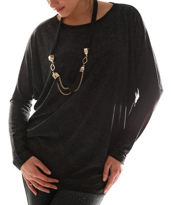 Anthracite Dolman Top & Necklace - Plus