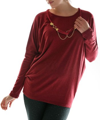 Burgundy Dolman Top & Necklace - Plus