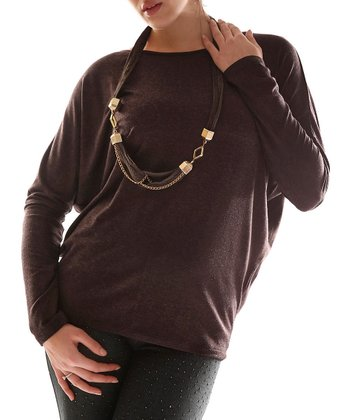 Brown Dolman Top & Necklace - Plus