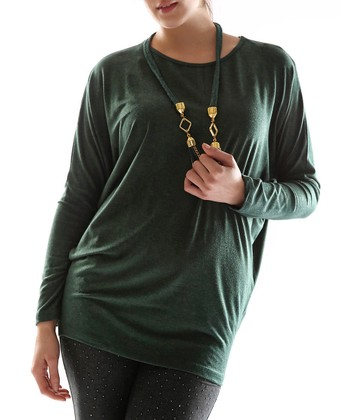 Green Dolman Top & Necklace - Plus