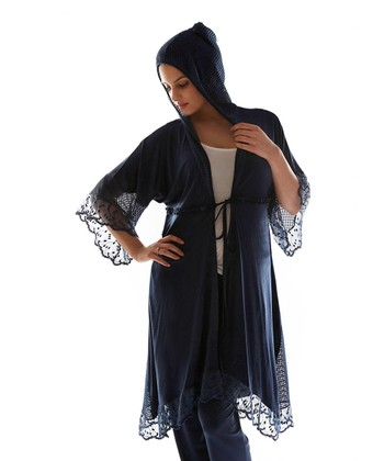 Navy Blue Ruffle Hooded Duster - Plus