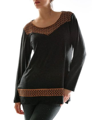 Black Boatneck Top - Plus