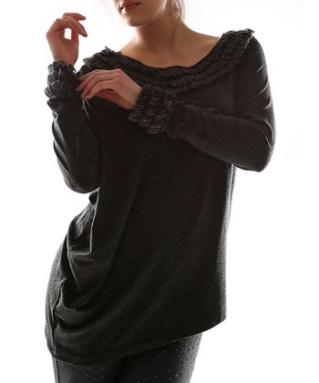 Black Knit Boatneck Top - Plus