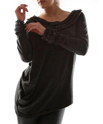 Black Knit Boatneck Top - Plus
