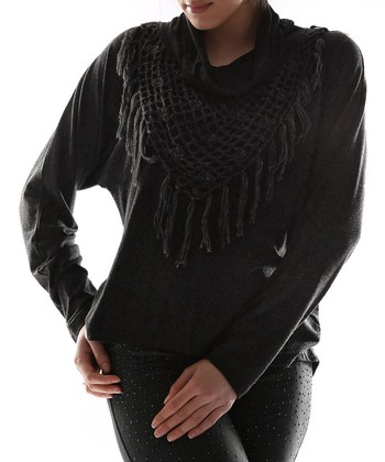 Black Scarf Cowl Neck Top - Plus