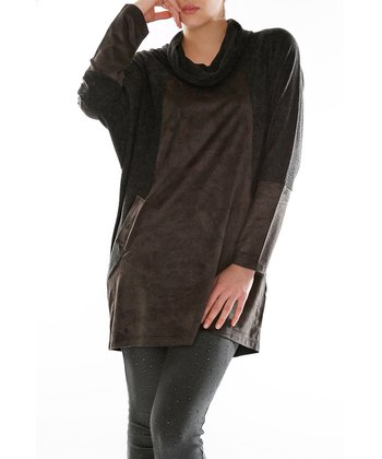 Black Cowl Neck Top - Plus