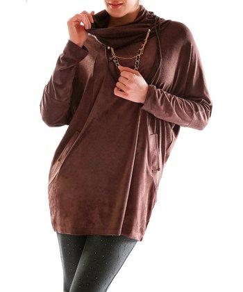 Brown Cowl Neck Top - Plus