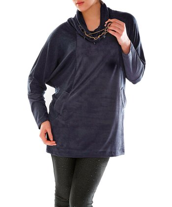 Navy Blue Cowl Neck Top - Plus