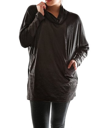 Black Sheen Cowl Neck Top - Plus