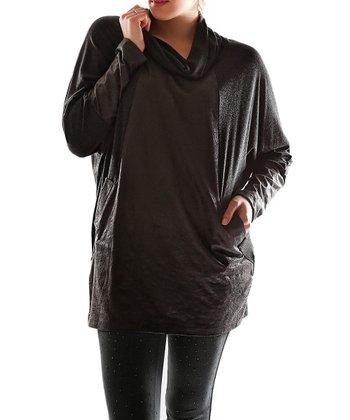Black Sheen Cowl Neck Top - Plus