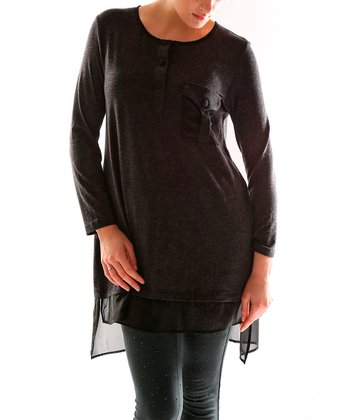 Black Sheer Trim Tunic - Plus