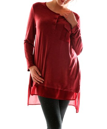 Burgundy Sheer Trim Tunic - Plus