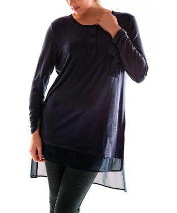 Navy Blue Sheer Trim Tunic - Plus