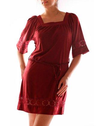 Burgundy Square Neck Dress - Women