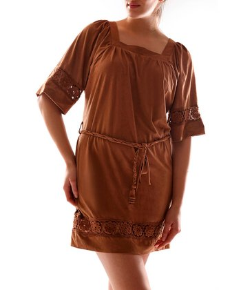 Camel Square Neck Dress - Women
