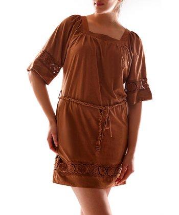 Camel Square Neck Dress - Women