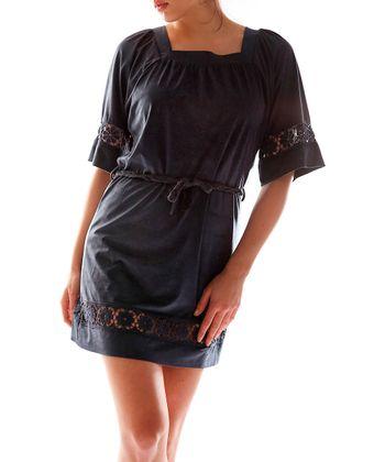Navy Blue Square Neck Dress - Women