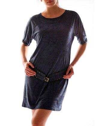 Navy Blue Scoop Neck Dress - Women