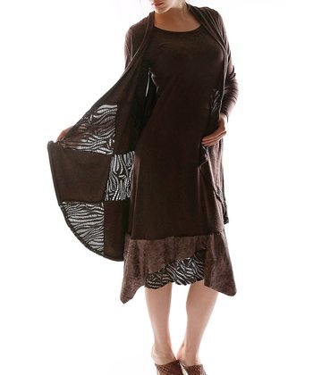 Brown Layered Dress - Plus