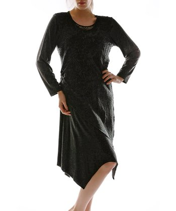 Black Layered Scoop Neck Dress - Plus