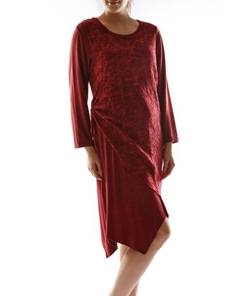 Burgundy Layered Scoop Neck Dress - Plus